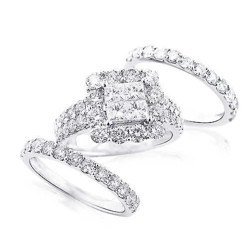 Trio Wedding Ring Sets 14K Gold Diamond Ring Set 463ct
