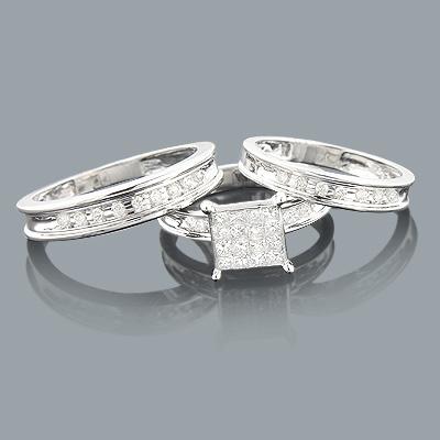Trio Wedding Ring Sets: Diamond Band Set 0.92ct 14K
