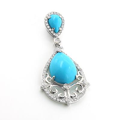 Turquoise Gem Teardrop Pendant with Diamonds 0.45ct 14K Gold