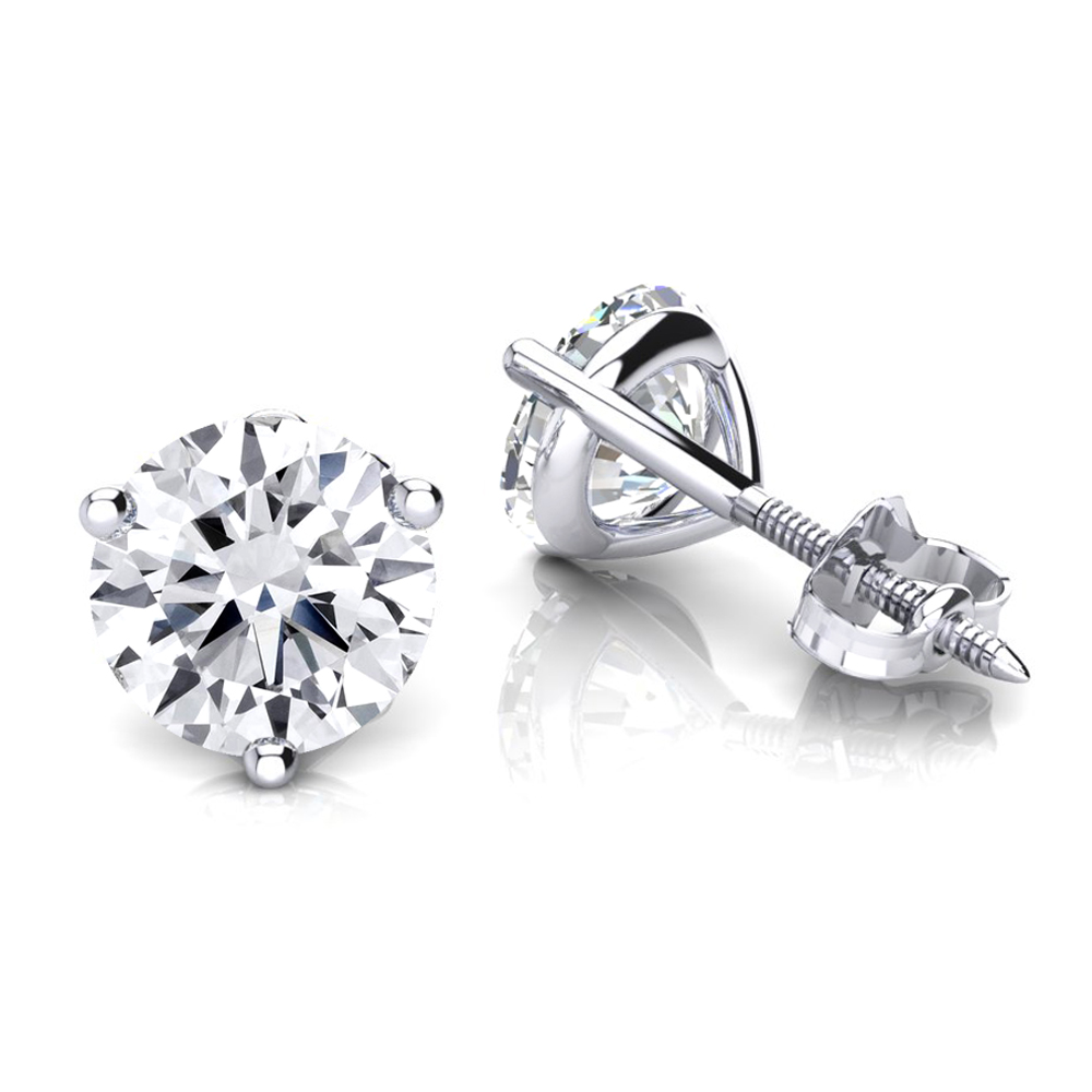 Two Carat 14K Gold Solitaire Round Diamond Martini Stud Earrings