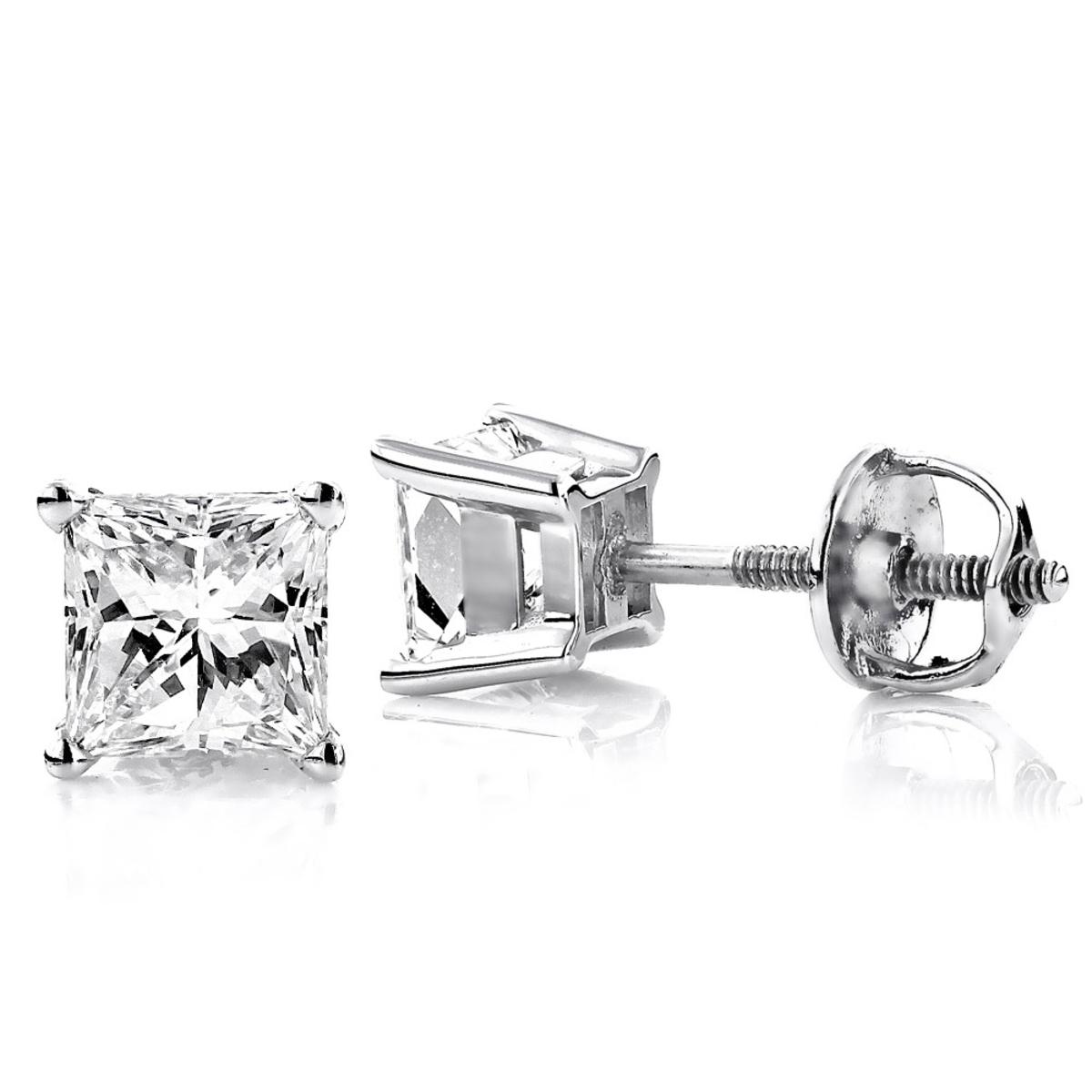 Two Carat 18K Gold Solitaire Princess Cut Diamond Stud Earrings