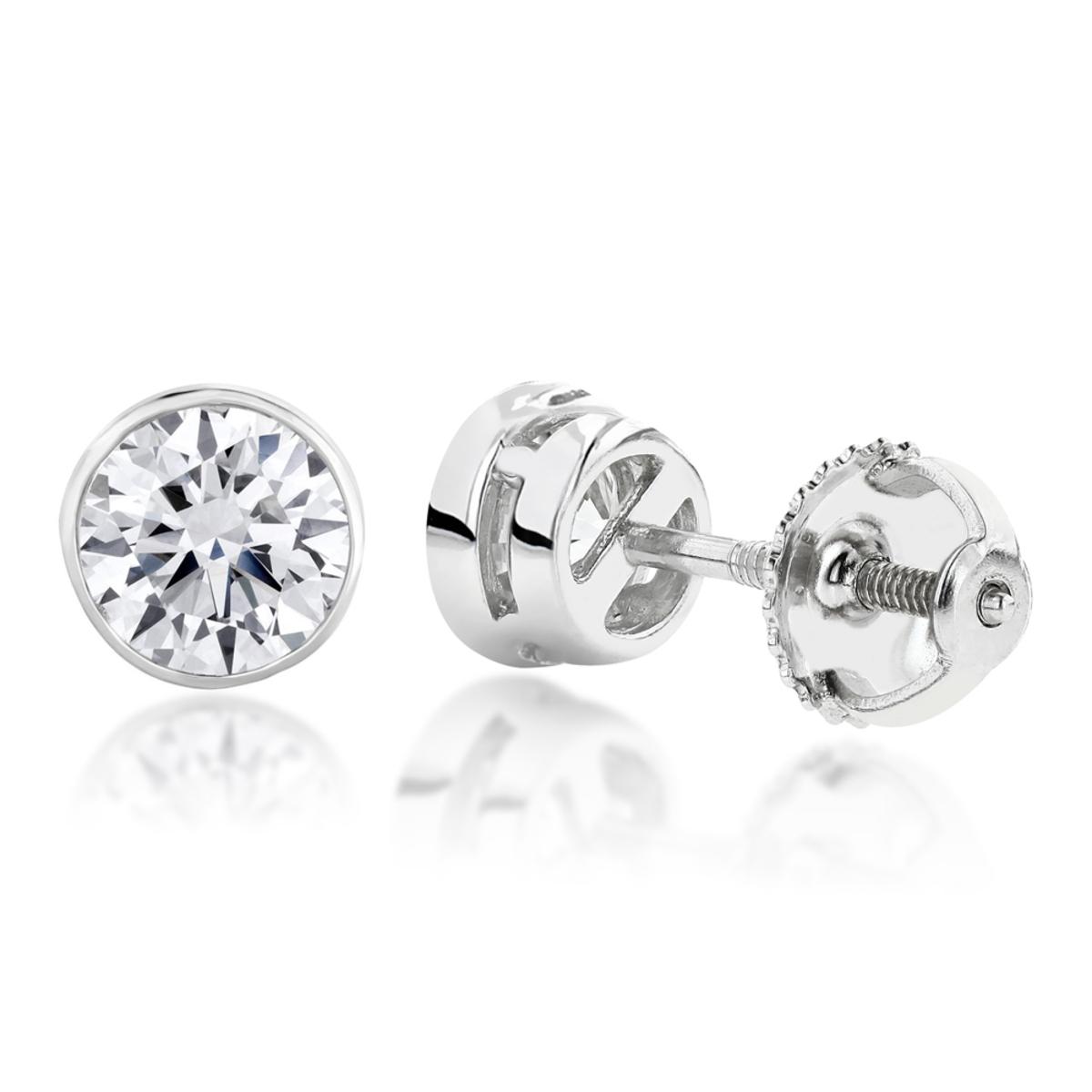 Two Carat 18K Gold Solitaire Round Diamond Bezel Stud Earrings