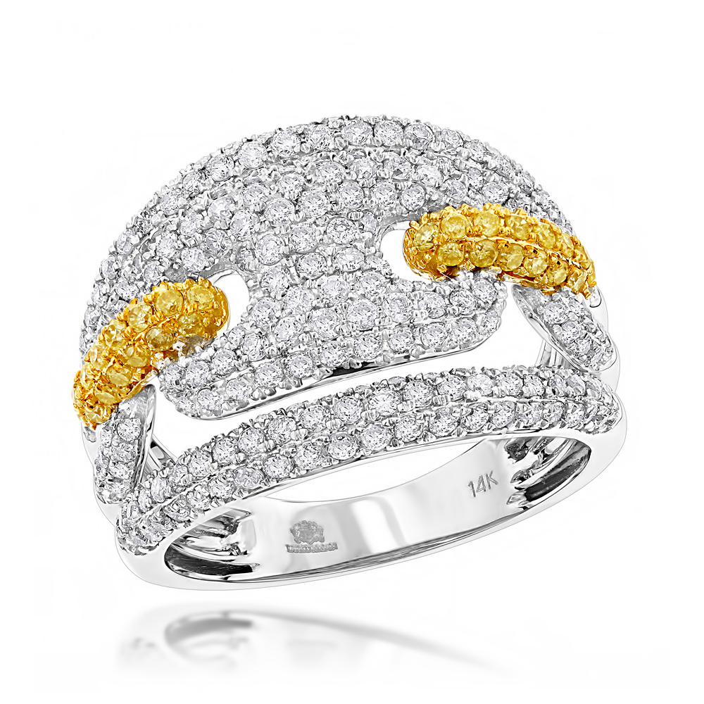Two Carat Gucci Diamond Link Cocktail Ring for Women 14K Gold