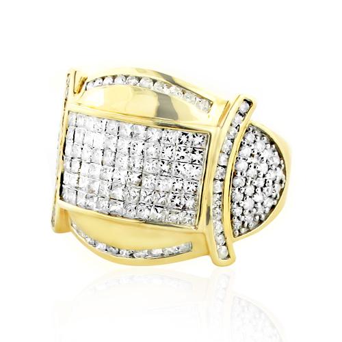 Two Carat Round & Princess Cut Mens Diamond Ring 14k Gold