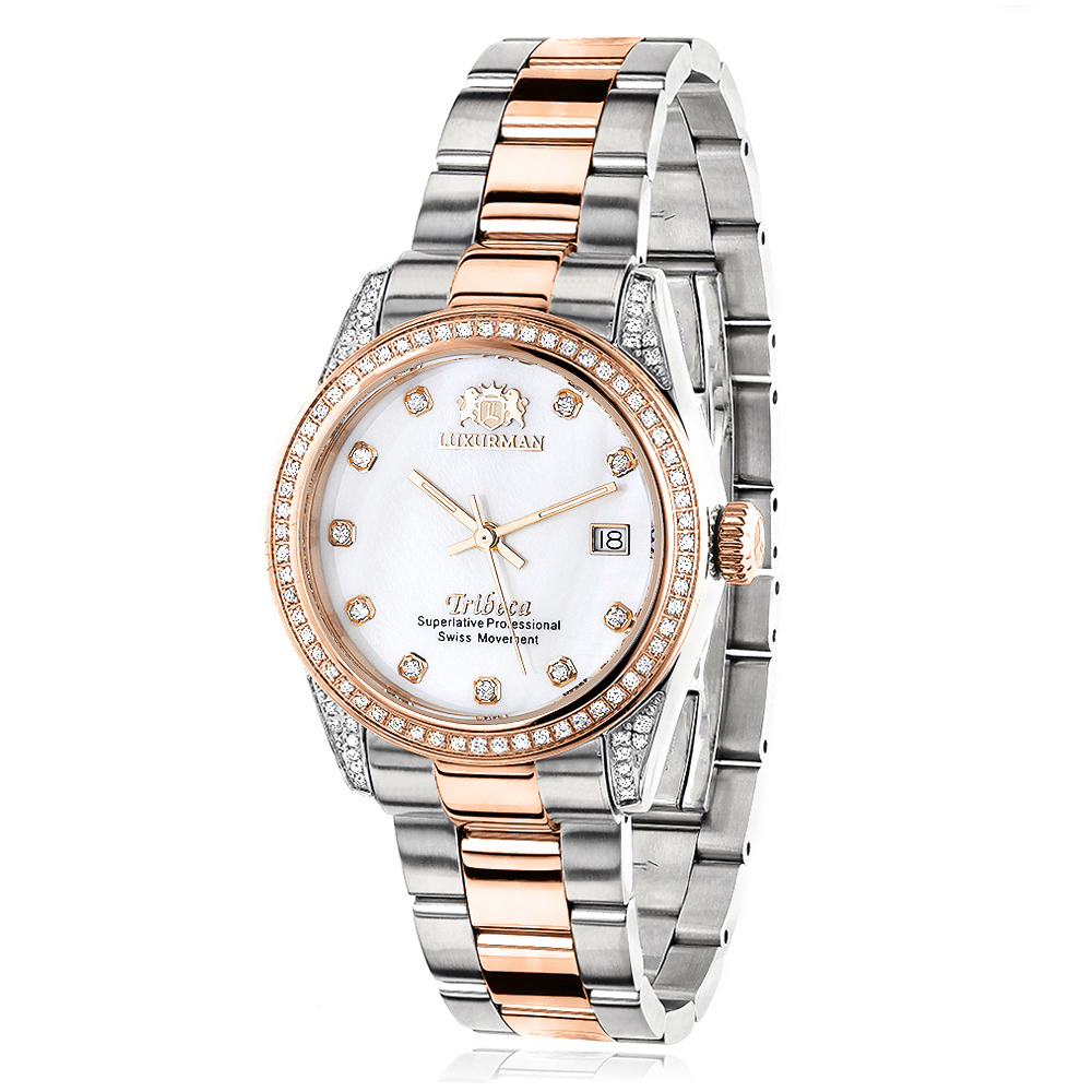 Two Tone Rose Gold Plated Women's Diamond Watch 1.5ct Luxurman Tribeca