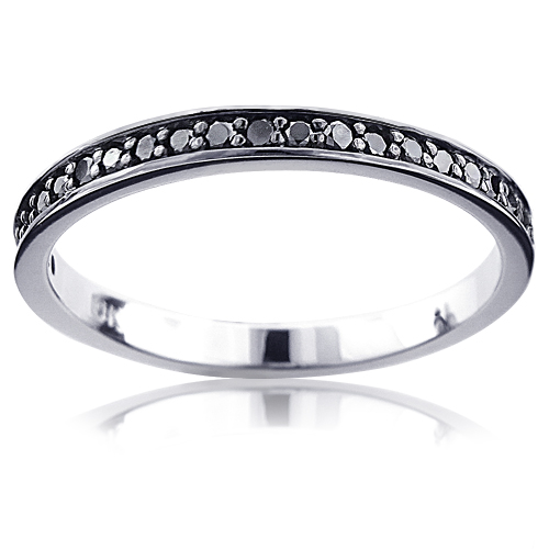 Ultra Thin 14K Gold Black Diamond Wedding Band for Women 0.21ct