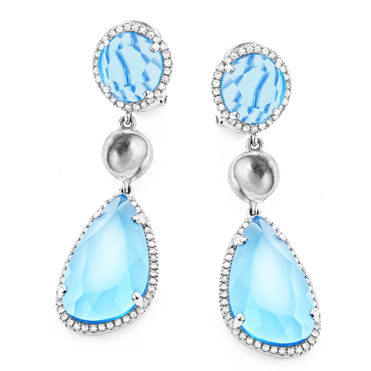 Unique 14K Blue Topaz Ladies Diamond Drop Earrings 0.64ct