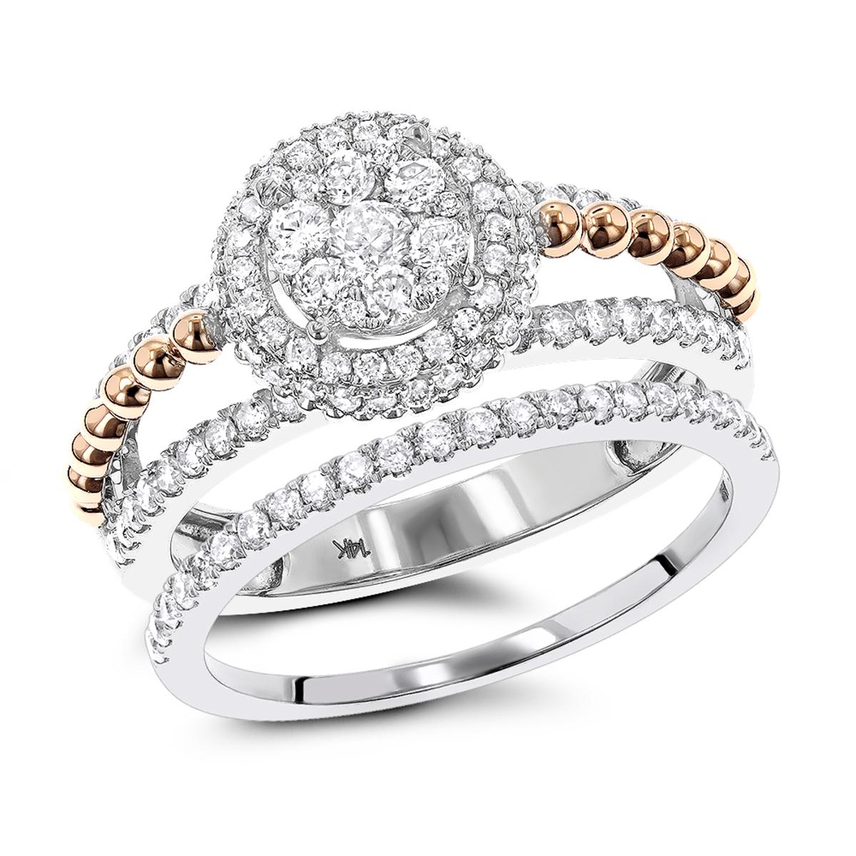 Unique 14K Gold 1 Carat Halo Flower Diamond Engagement Ring Set