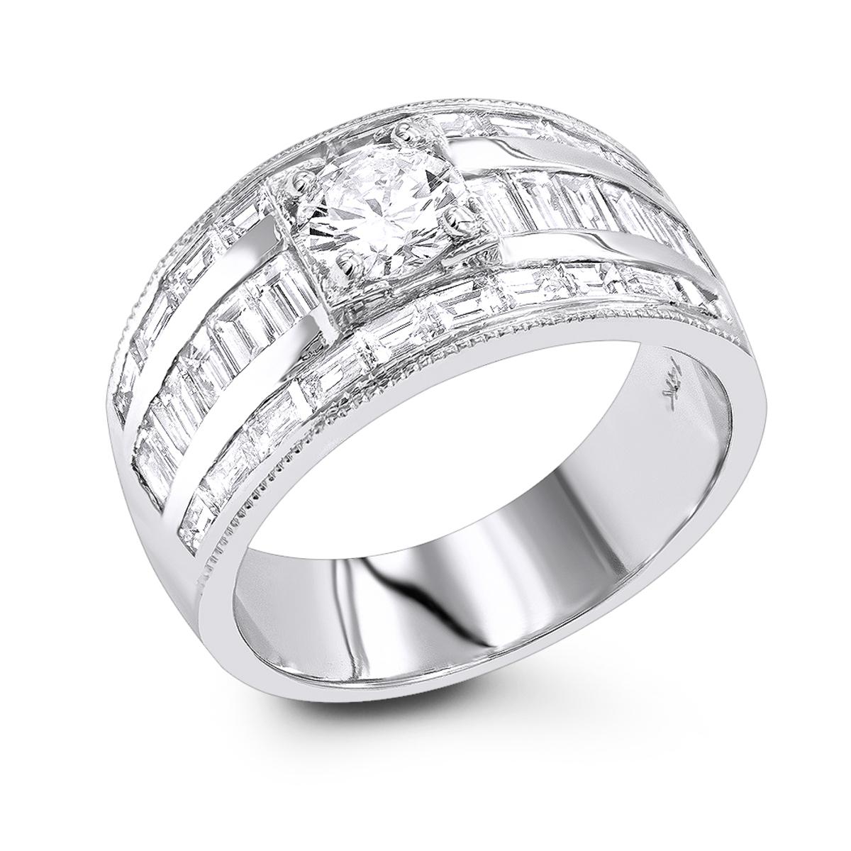 Unique 14K Gold Baguette & Round Diamond Engagement Ring 2.75ct by Luxurman