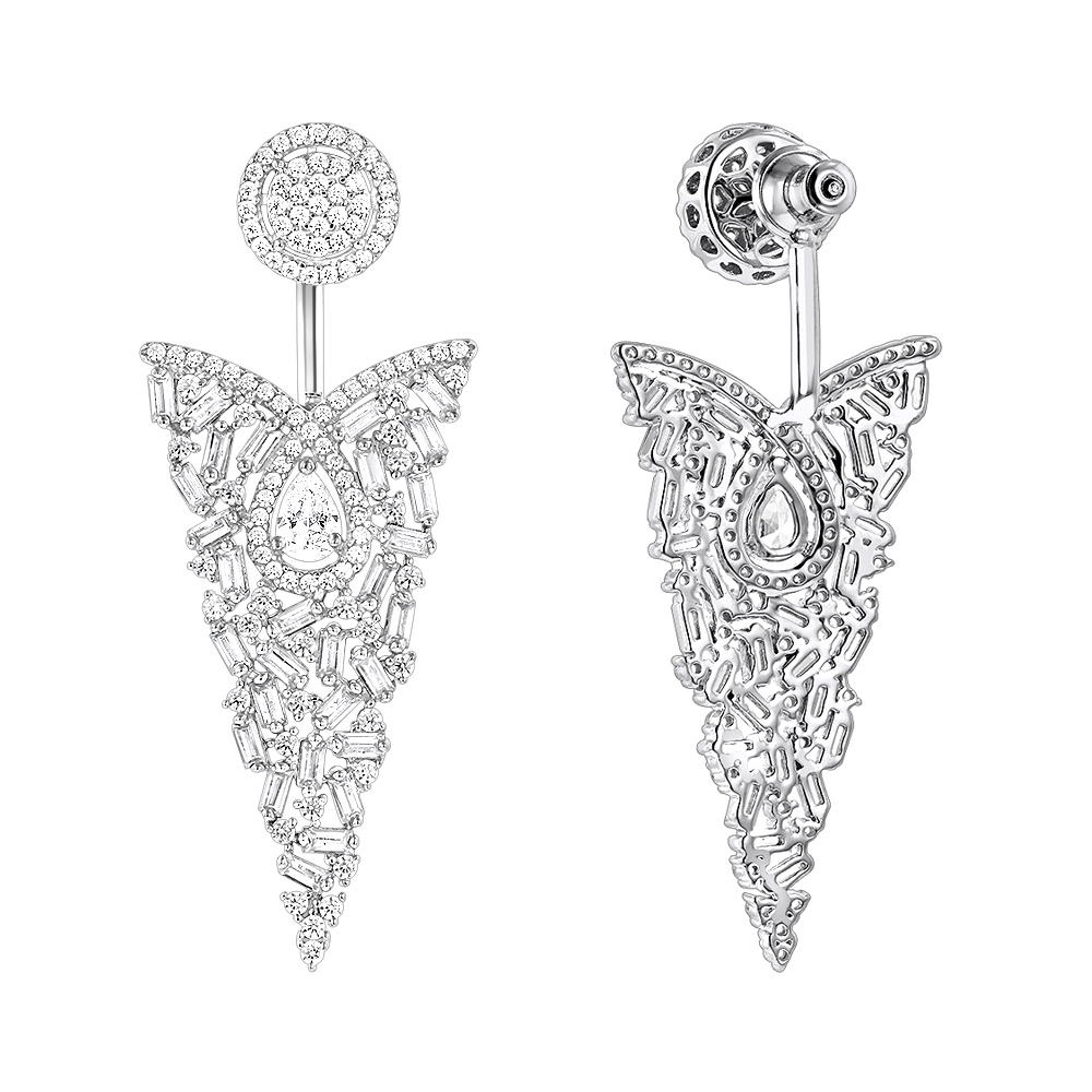 Unique 14K Gold Designer Baguette Round Diamond Earrings 4ct