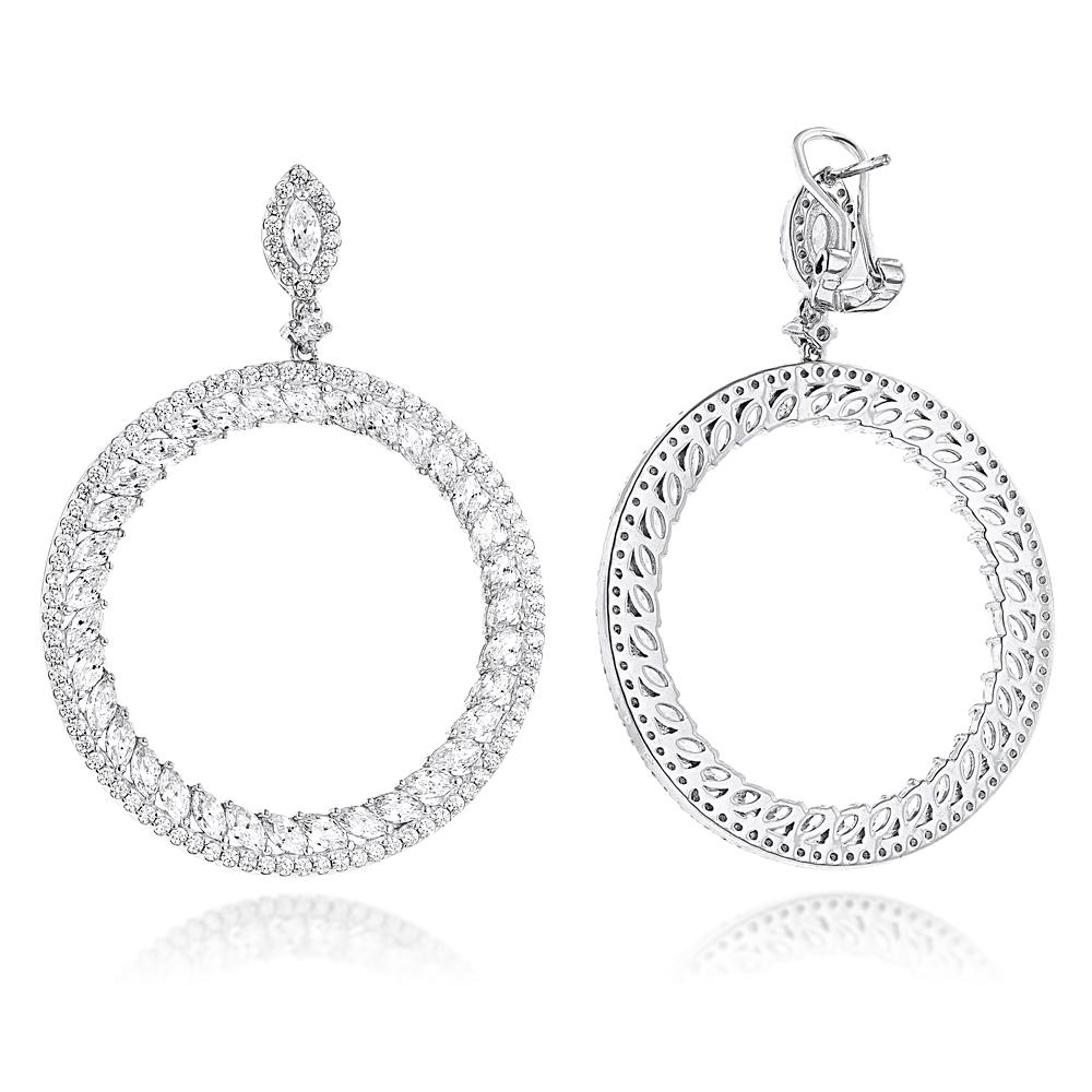 Unique 14K Gold Designer Circle Diamond Drop Earrings for Women 7ct