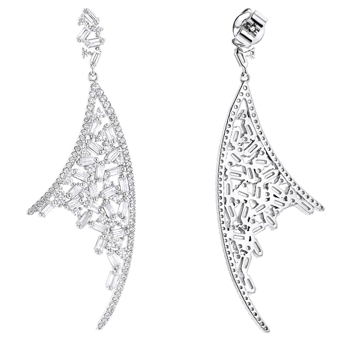 Unique 14K Gold Designer Diamond Earrings 3.3ct