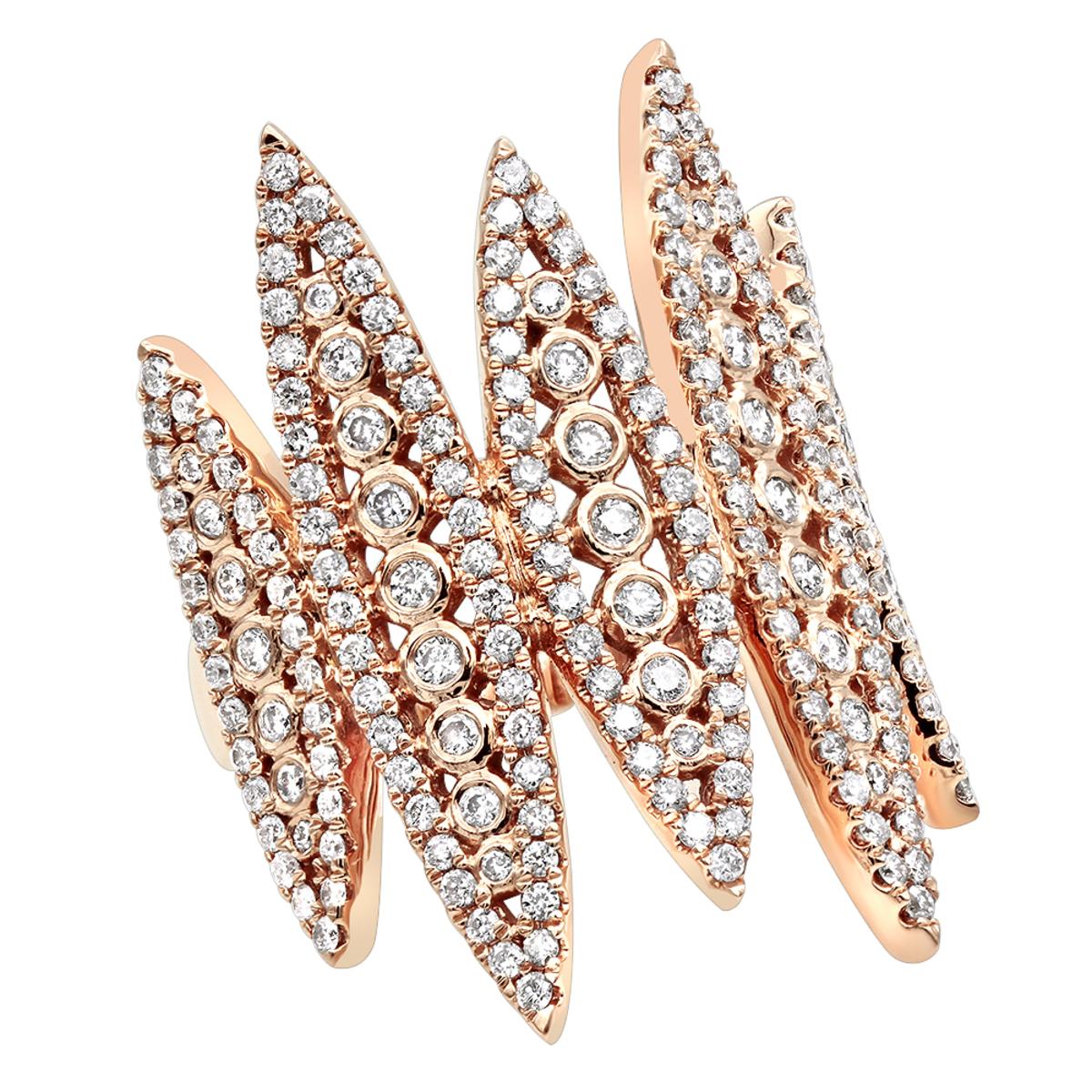 Unique 14k Gold Designer Diamond Fashion Ring for Women 1.25ct By Luxurman