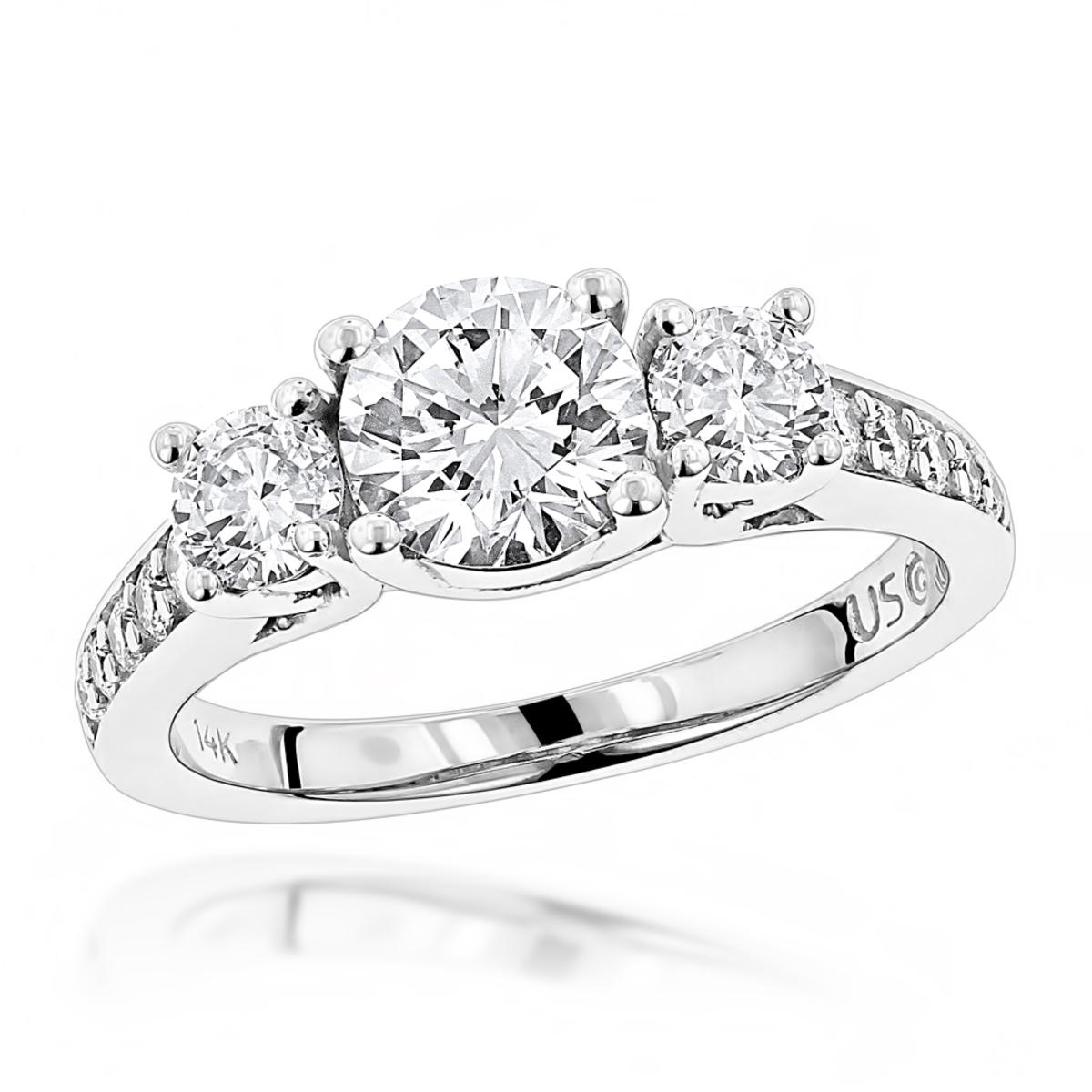 Unique 14K Gold Designer Diamond Three Stone Engagement Ring 1.85ct G/VS