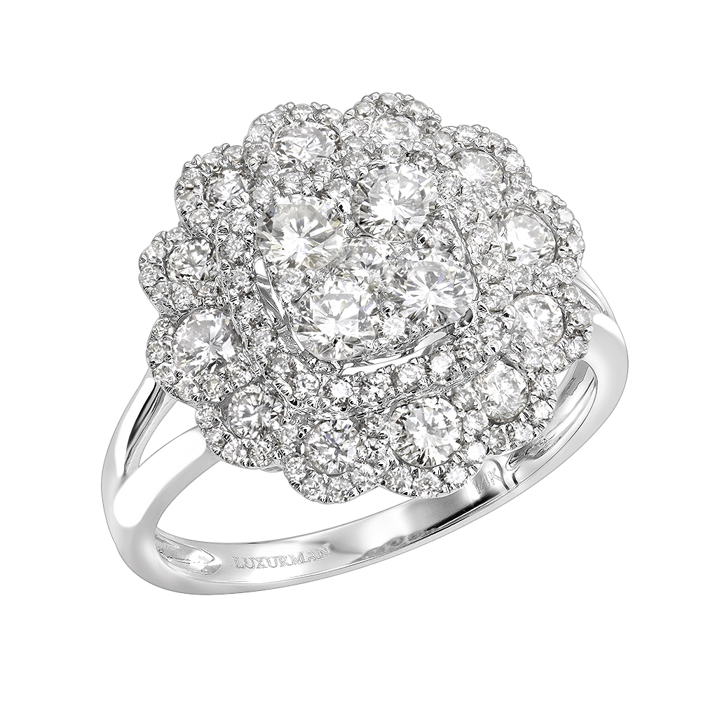 Unique 14k Gold Diamond Cluster Flower Ring for Women 1.5ct by Luxurman