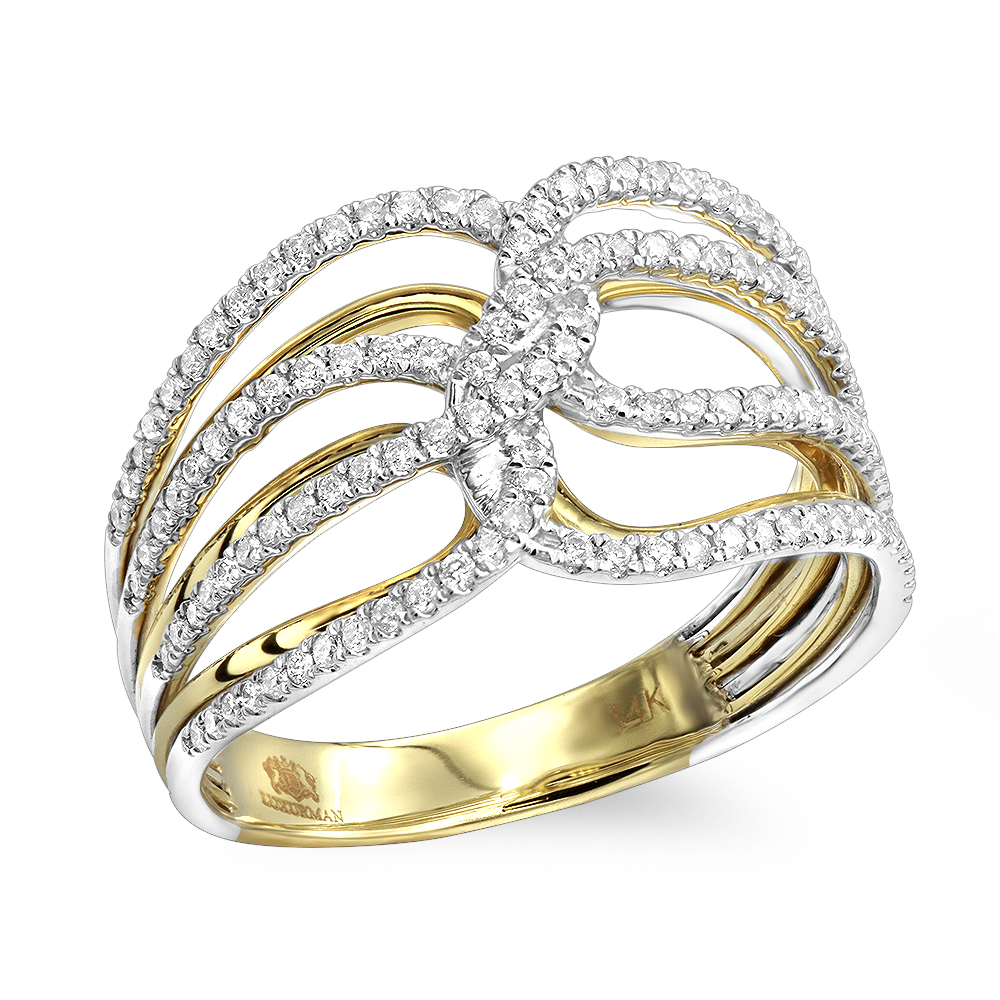 Unique 14k Gold Right Hand Diamond Ring for Women by Luxurman 0.45ct