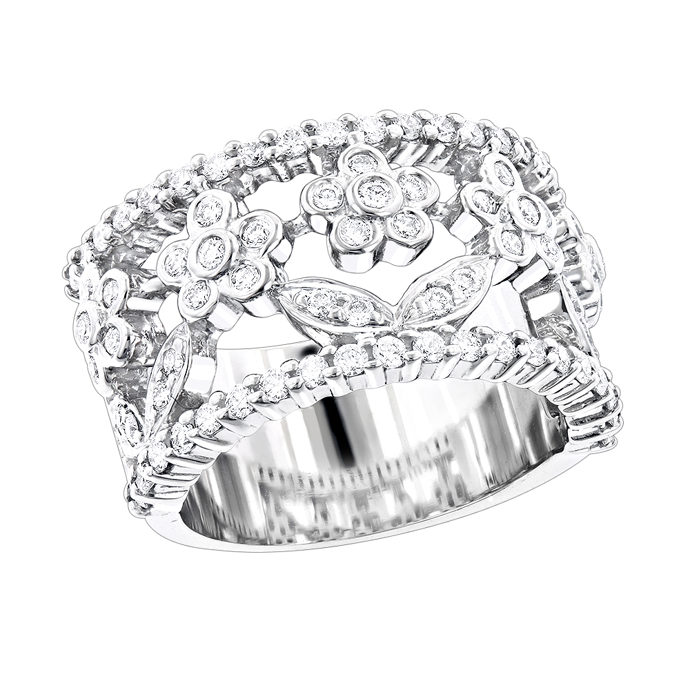 Unique 14K Gold Round Diamond Flower Ring for Women by Luxurman 0.82ct