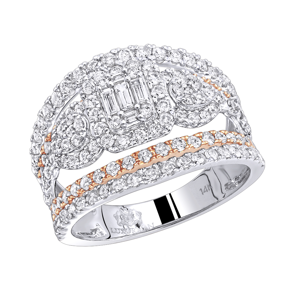Unique 14K Gold Two Tone Diamond Engagement Ring 1.8ct by Luxurman