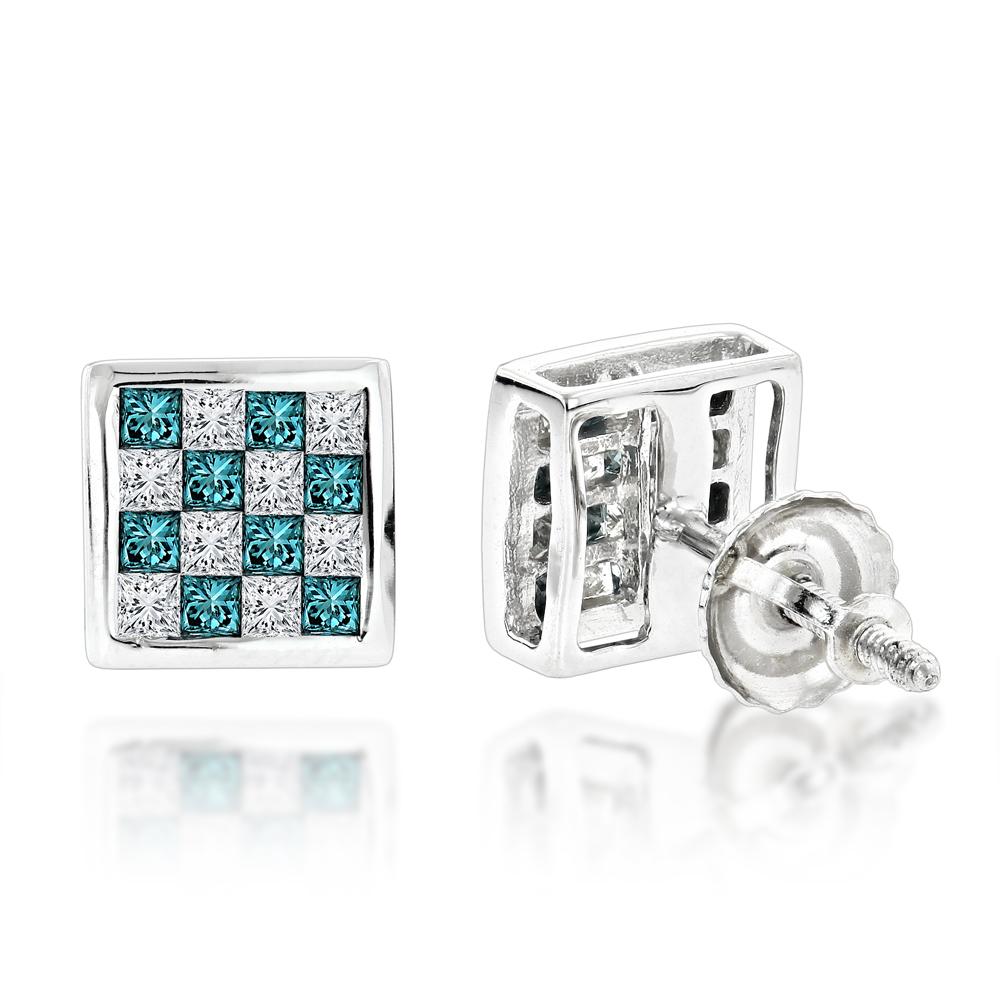 Unique 14K Gold White and Blue Princess Cut Diamond Earrings Studs 0.65ct