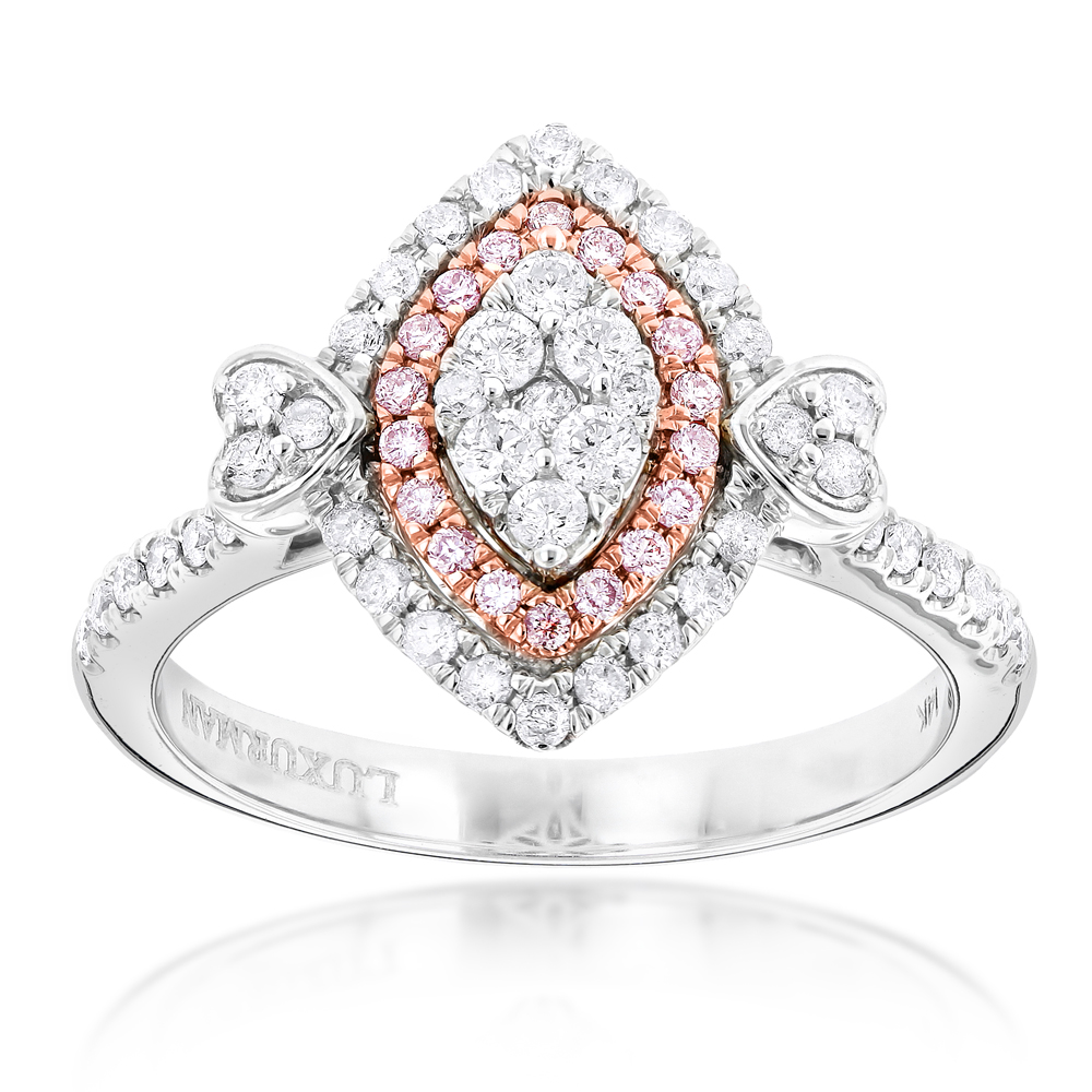 Unique 14K Gold White Pink Diamond Ring for Women Marquise Hearts Design