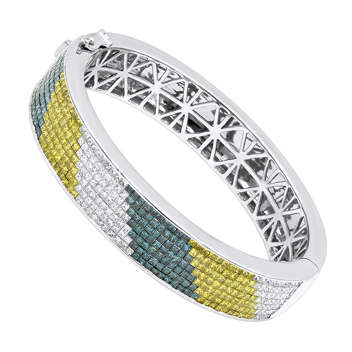 Unique 14K Gold White Yellow Blue Diamond Bangle Bracelet for Men 13.5ct