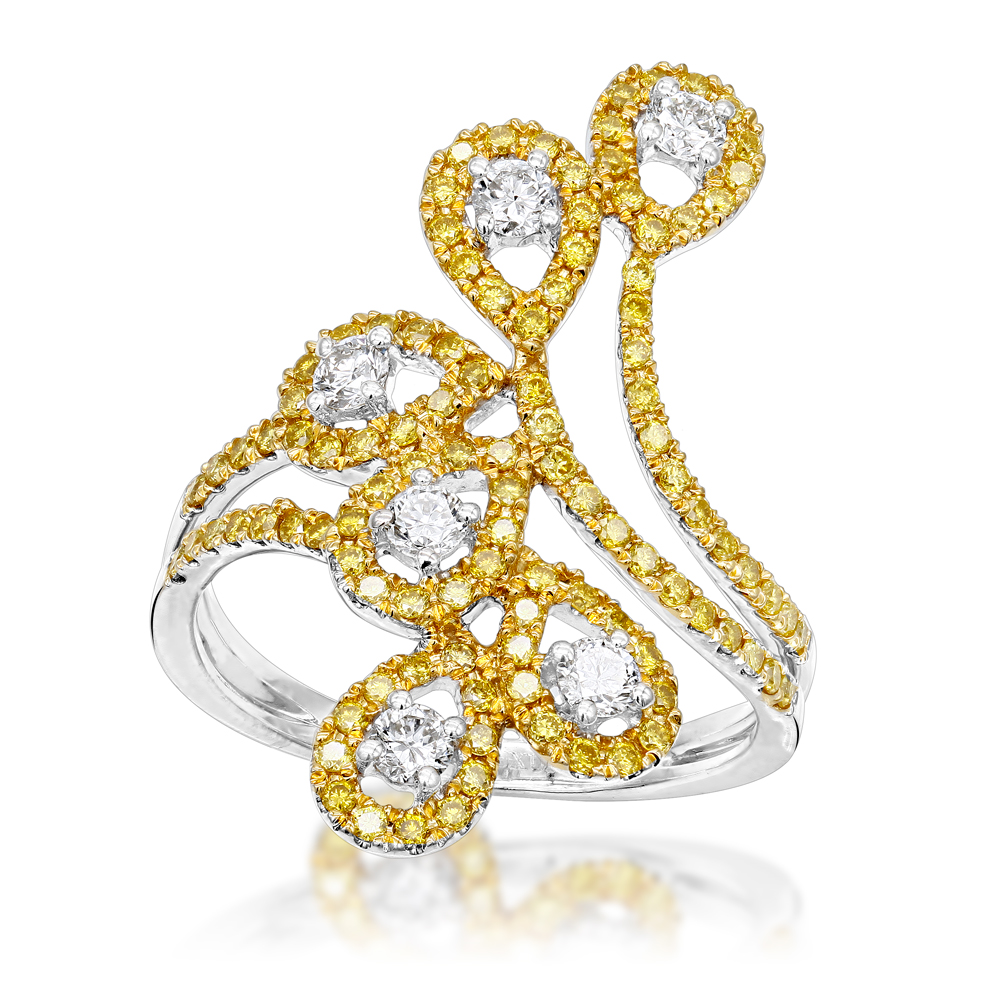 Unique 14K Gold White Yellow Diamond Floral Ring for Women by Luxurman 1ct
