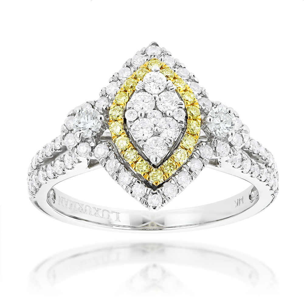 Unique 14K Gold White Yellow Diamond Marquise Shape Engagement Ring 1.3ct