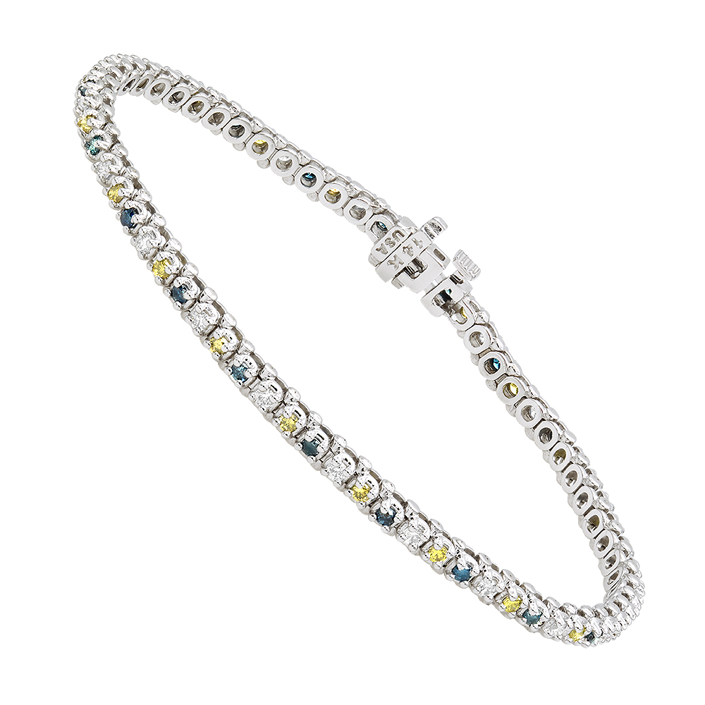 Unique 14K Gold Yellow White Blue Diamond Tennis Bracelet for Women 1.5ct