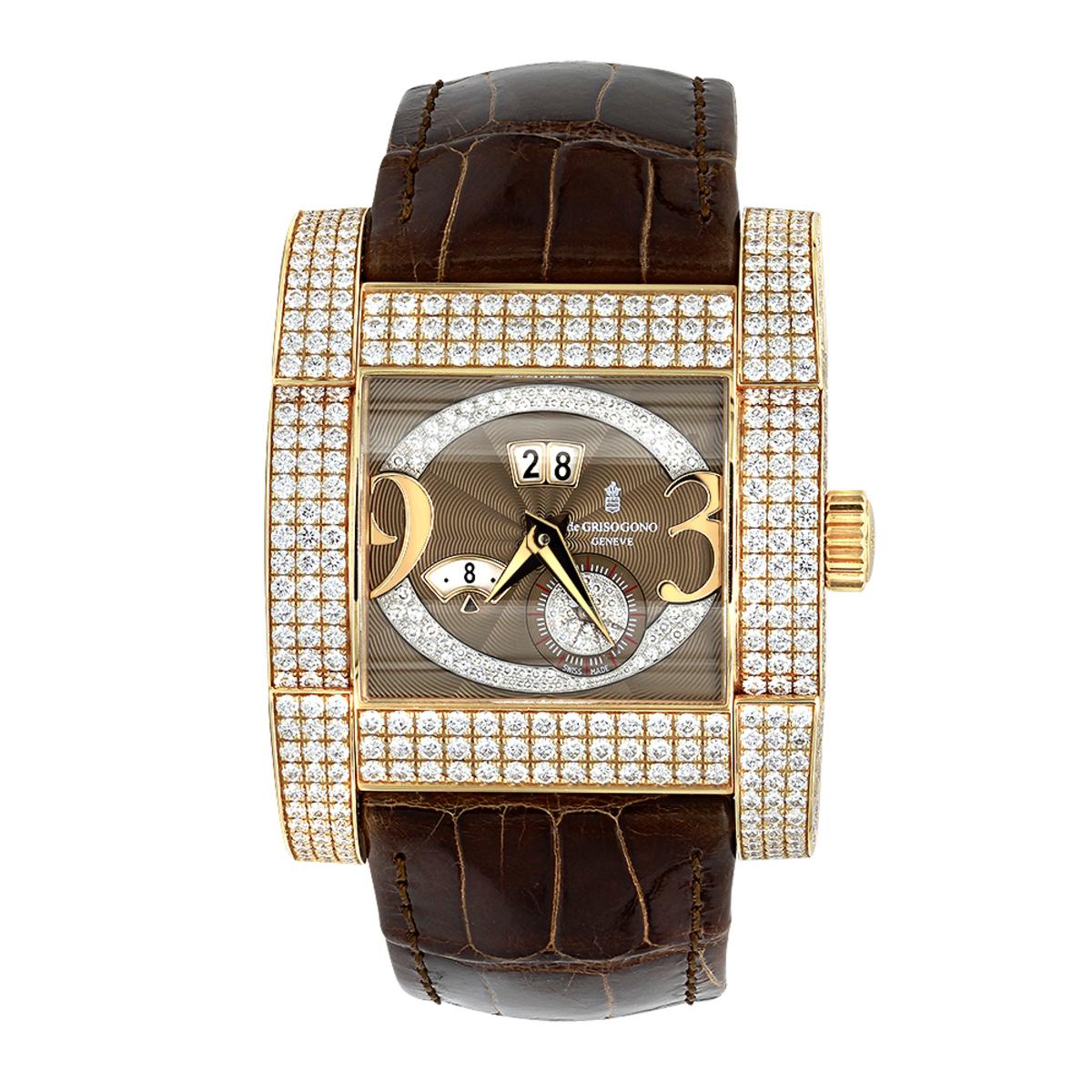 Unique 18K Gold De Grisogono Novantatre Automatic Men's Diamond Watch 20ct