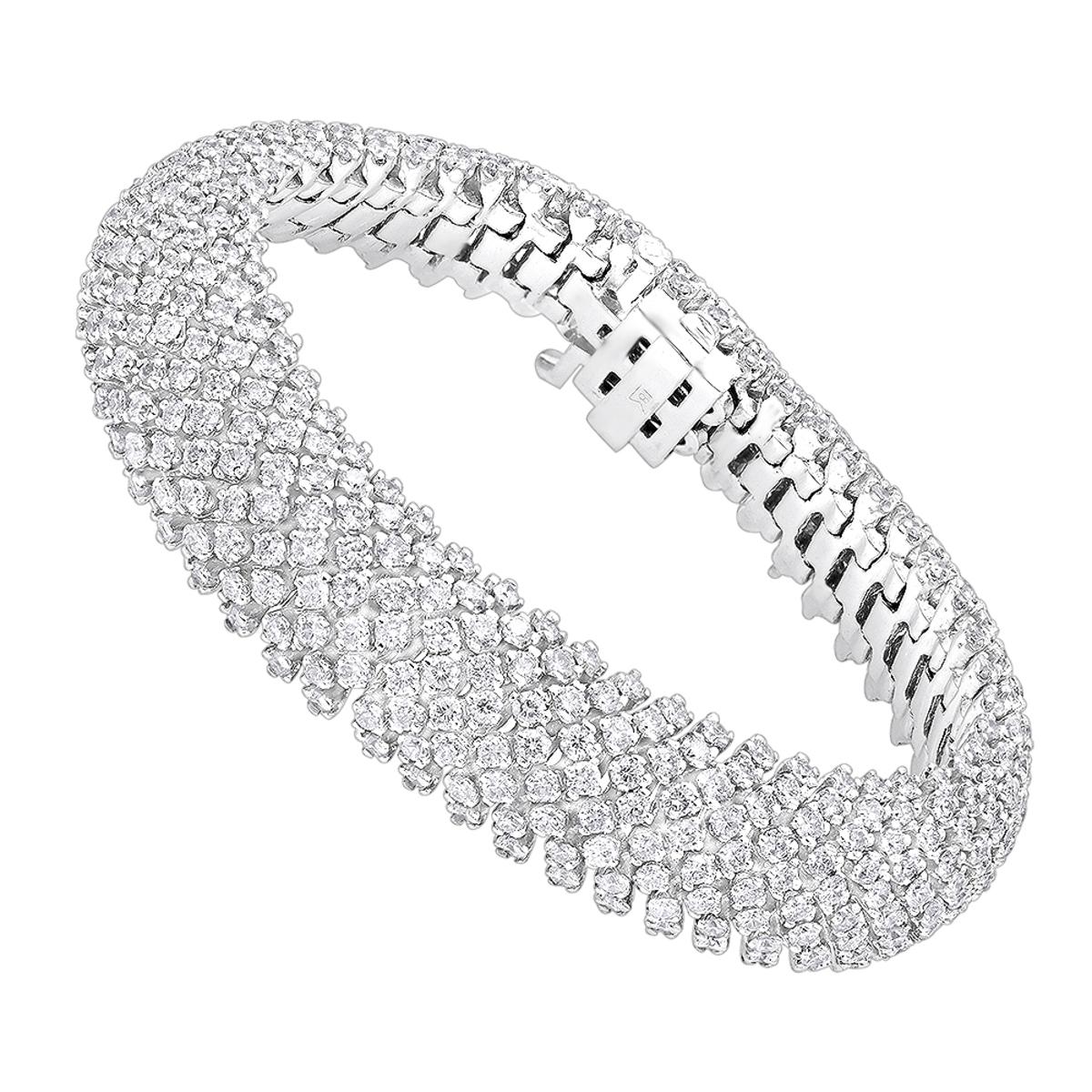 Unique 18K Gold Ladies Diamond Bracelet 14.6ct G/VS by Luxurman
