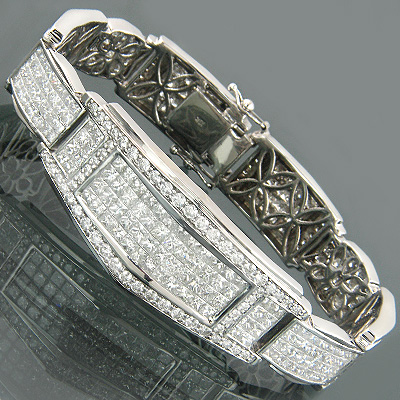 Unique 18K Gold Invisible Set Princess Cut Diamond Bracelet for Men 17.5ct