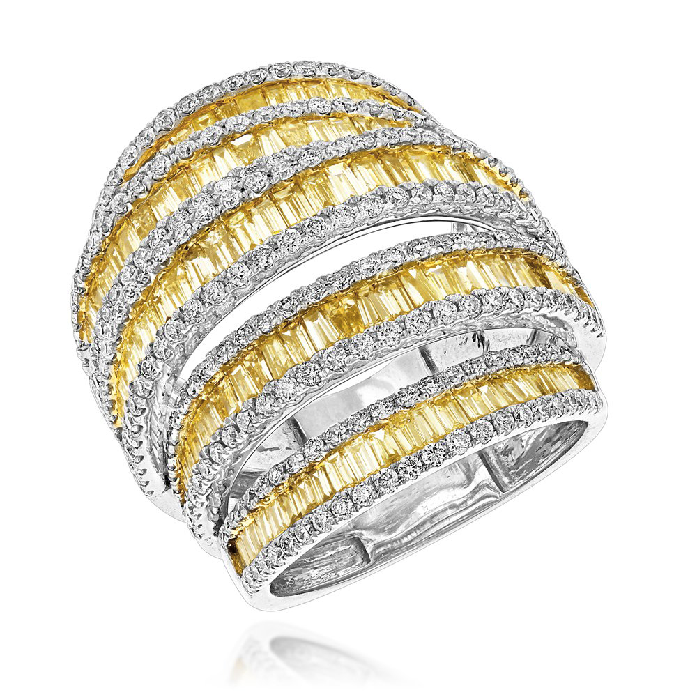 Unique 7ct Ladies White Yellow Diamond Cocktail Ring 14K Gold by Luxurman