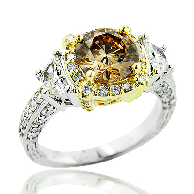 Unique Champagne Fancy Color Diamond Engagement Ring 2.5ct Halo 18K Gold