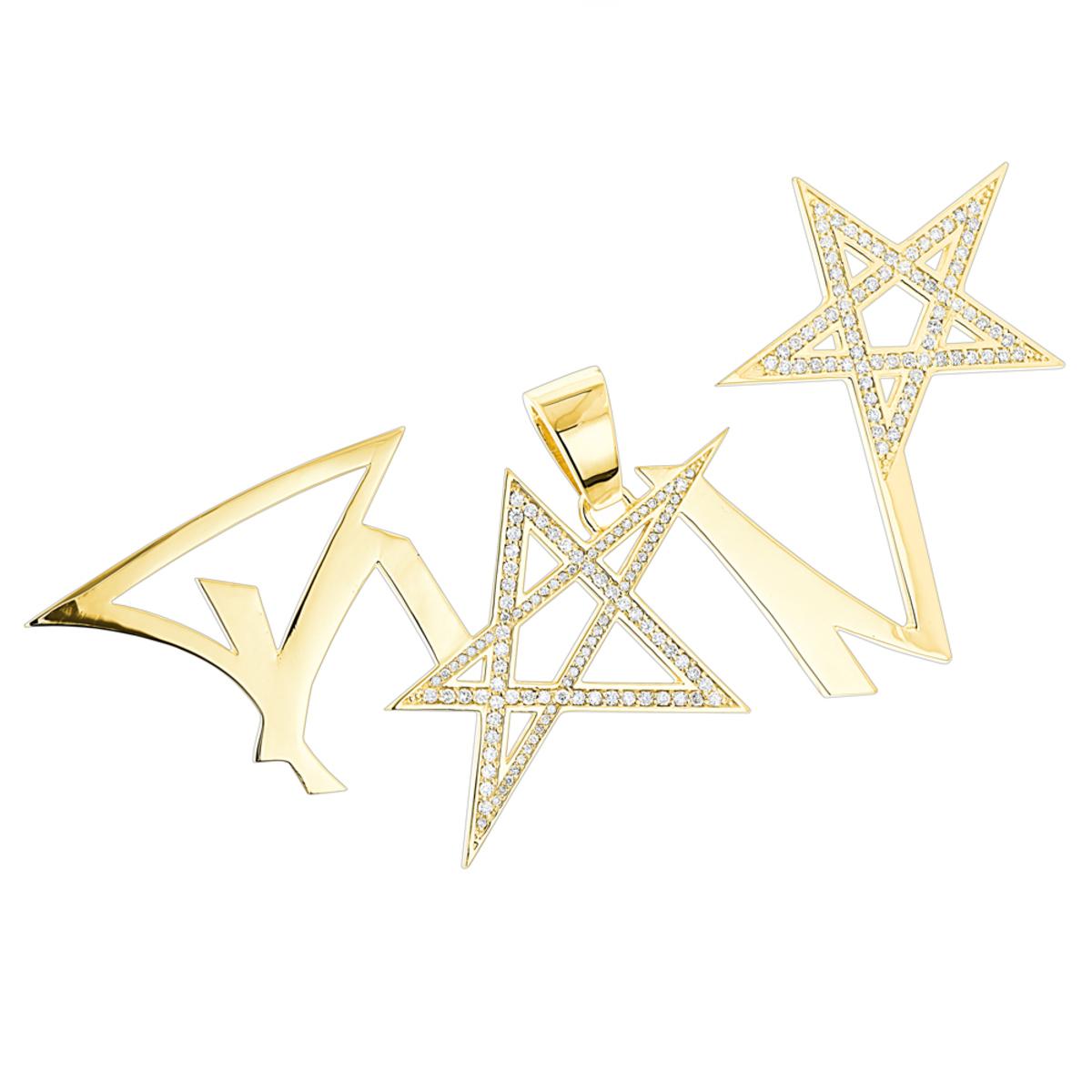 Unique Custom Diamond Mens Pendant in 14K Gold 2ct