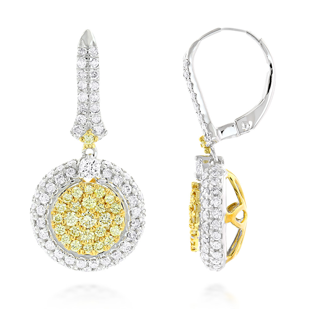 Unique Designer Ladies White & Yellow Diamond Earrings by Luxurman 14k Gold