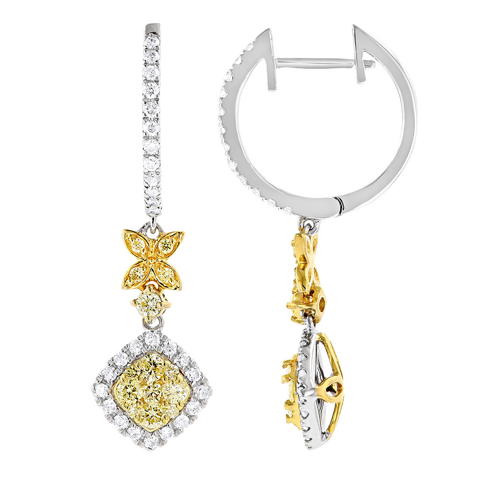 Unique Designer White & Yellow Diamond Ladies Earrings with Leafs 14k Gold