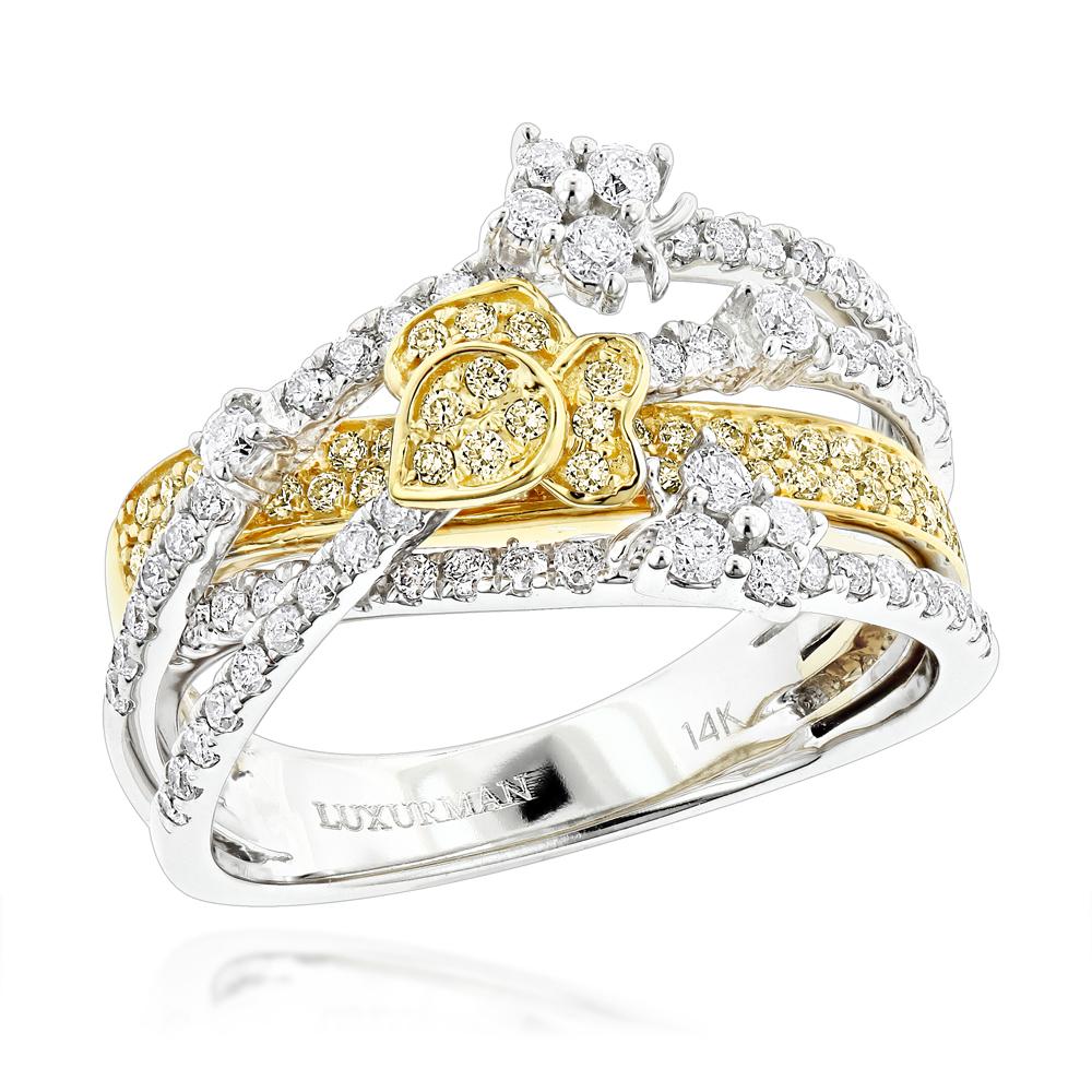 Unique Designer White Yellow Diamond Right Hand Ring for Women 0.88ct