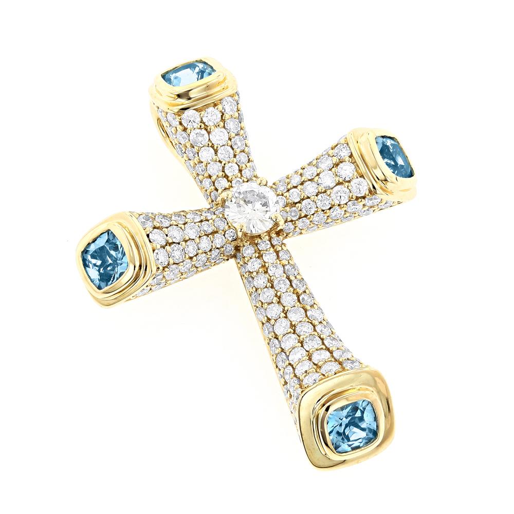 Unique Diamond Cross Pendant with Blue Topaz in 14K Yellow White Rose Gold