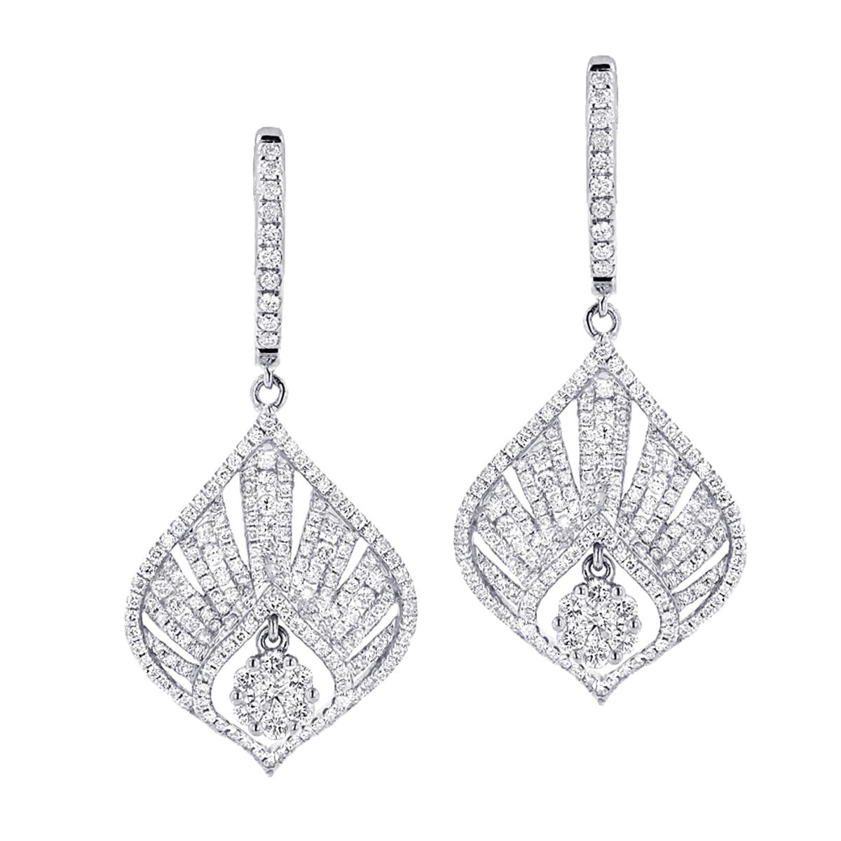 Unique Diamond Drop Earrings For Women 2.4ct 14k Gold