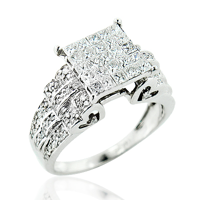 Unique Diamond Engagement Ring 1.33ct 14K Gold