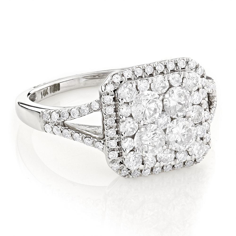 Unique Diamond Engagement Ring 1.45ct Designer Jewelry