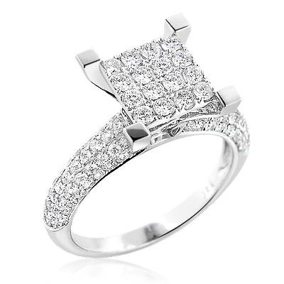 Unique Diamond Engagement Ring 1.47ct 14K Gold