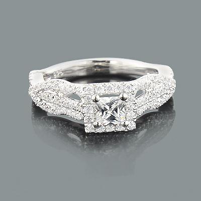 Halo Unique Diamond Engagement Ring Mounting 0.64ct 14K