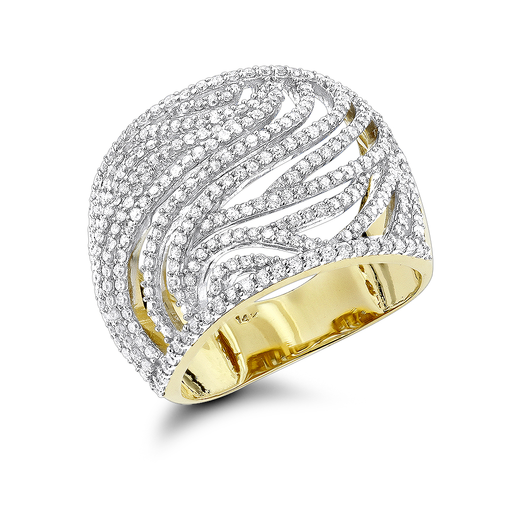 Unique Diamond Right Hand Rings For Women 14K Cut-Out Diamond Ring 1 Carat