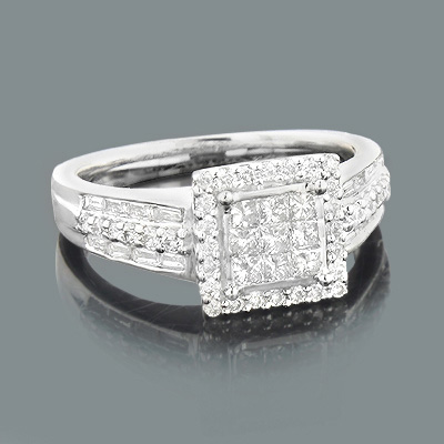 Unique Engagement Ring 1.06ct Round Princess Cut Baguette Diamonds