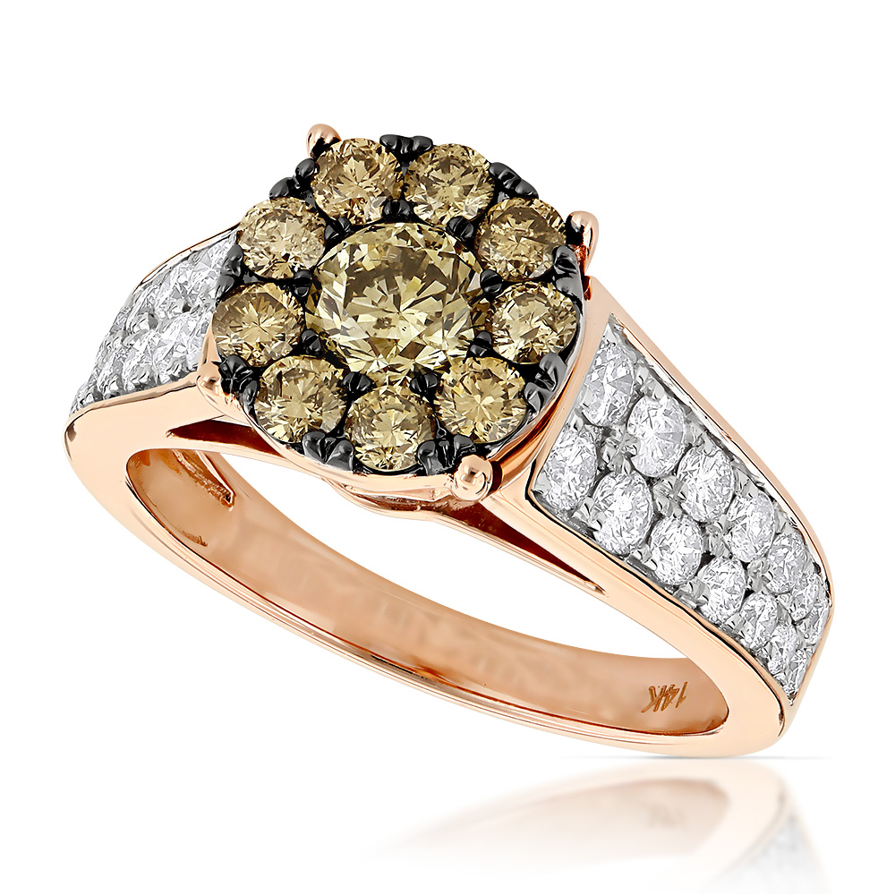Unique Engagement Rings: 14K Gold Cluster Diamond Ring for Women 2.25ct
