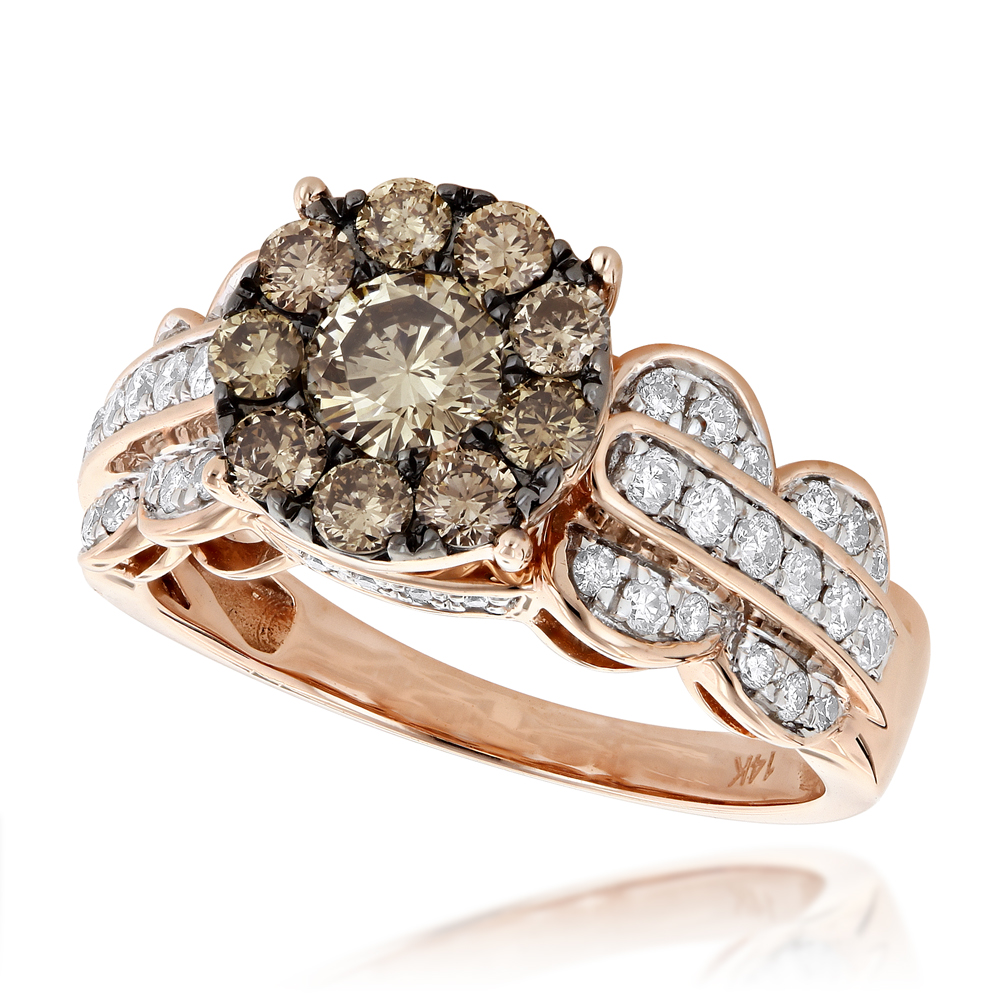 Unique Engagement Rings: 14K Gold White Champagne Cluster Diamond Ring
