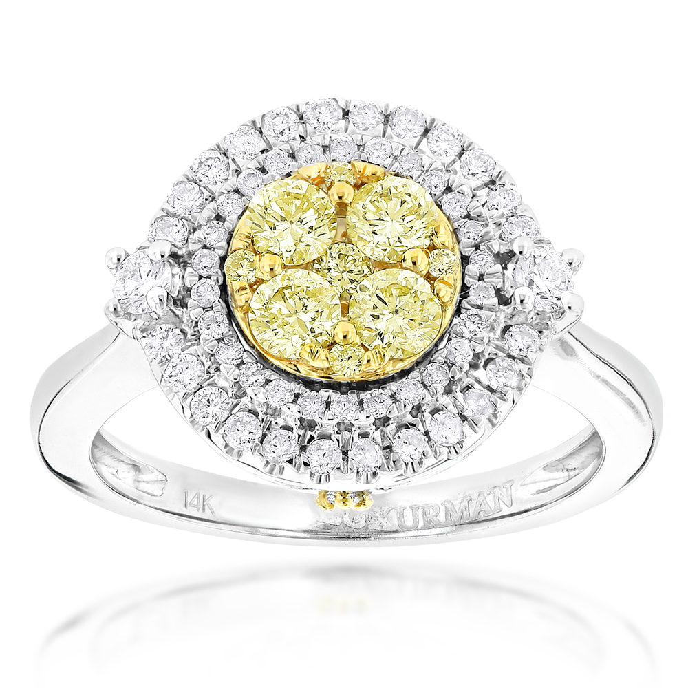 Unique Engagement Rings: 14K Gold White Yellow Diamond Ring for Women 1.2ct