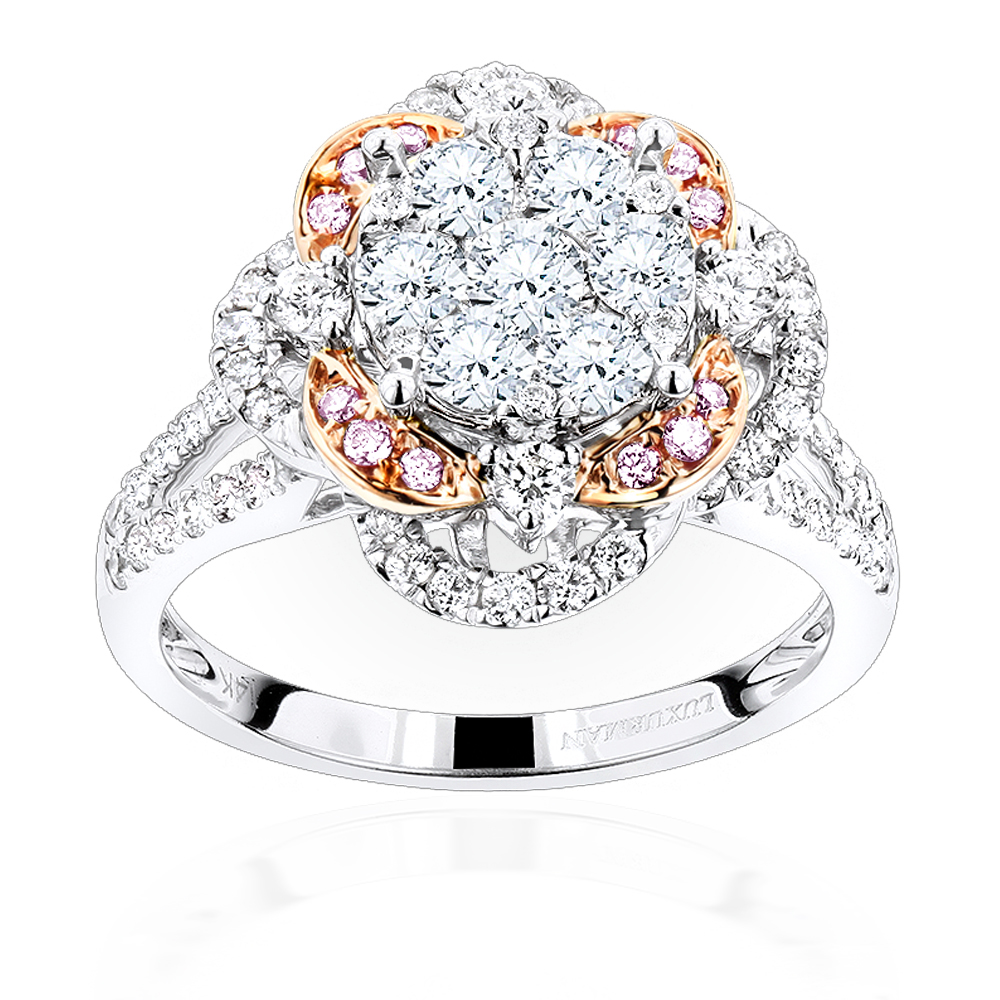 Unique Ladies Cluster Flower Diamond Engagement Ring in 14K Gold 1.75ct