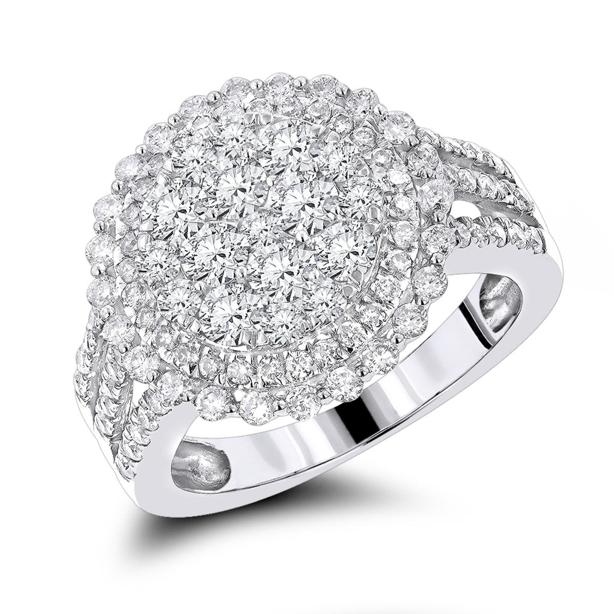 Unique Ladies Diamond Ring 1.60ct 14K Gold